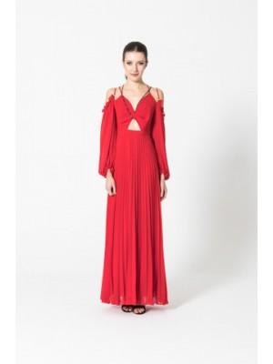Czerwona ręcznie plisowana suknia