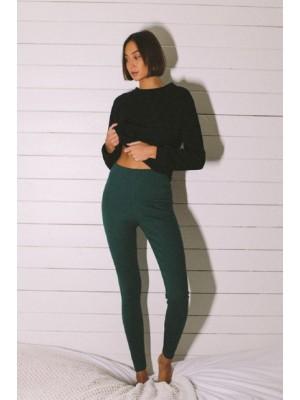 Legginsy Rilla zielone - gruba bawełna organiczna