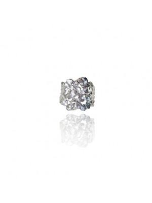 Srebrny pierścień z płatków- Jabłonka