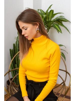 Sweter z golfem żółty