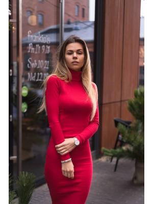 Sukienka z golfem czerwona