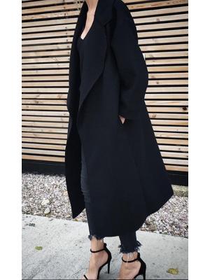 COLLAR MAXI COAT BLACK