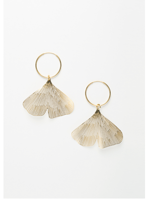 GINGKO RING EARRINGS GOLD