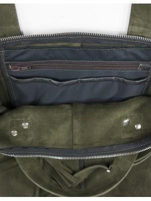 zamszowa torebka na ramię khaki