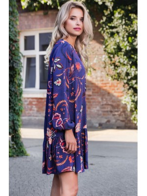 JAMAJKA FLOWER DRESS NAVY/ORANGE