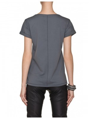 Klasyczny szary t-shirt z kieszonką POCKET