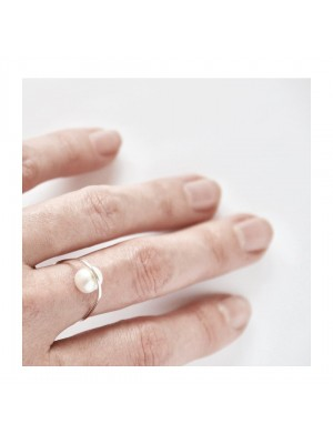 SMALL ORBIT PEARL RING SILVER