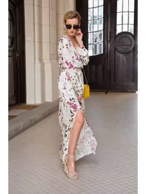MADERA długa biała suknia w kwiaty