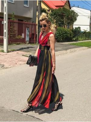 SPACE długa suknia w czarne i kolorowe pasy