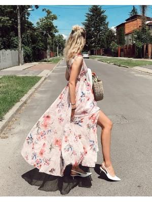 SPACE długa suknia w kwiaty
